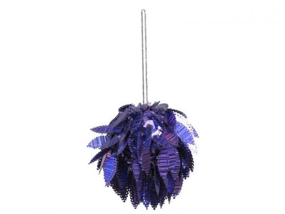 Weihnachtskugel von RICE mit funky Pailletten (violett)