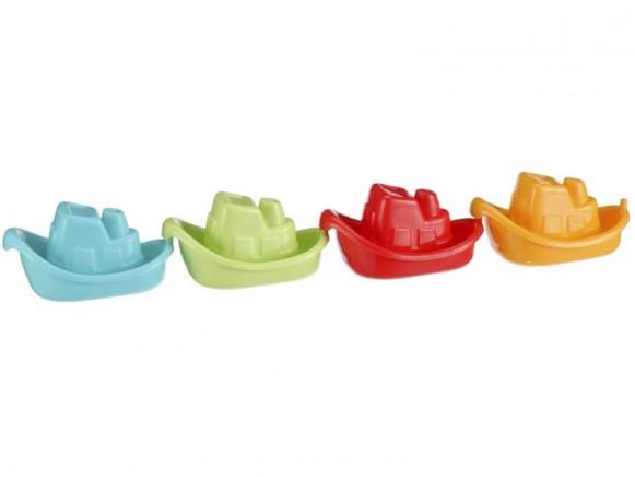 Vier kleine bunte Boote für die Badewanne