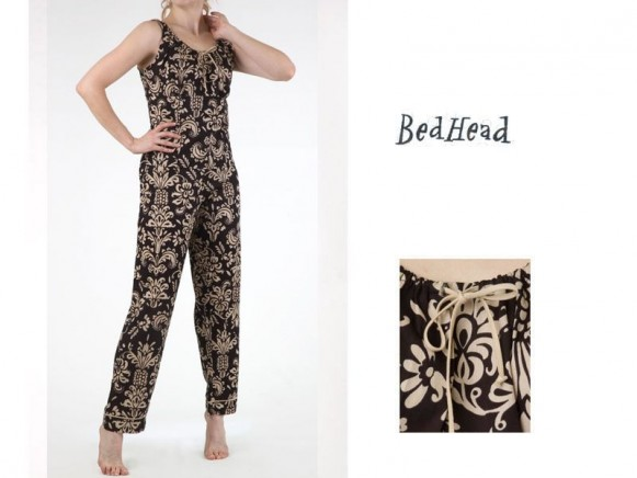 Black Pineapple Pique Corset Low-Rise Pant Set von BedHead