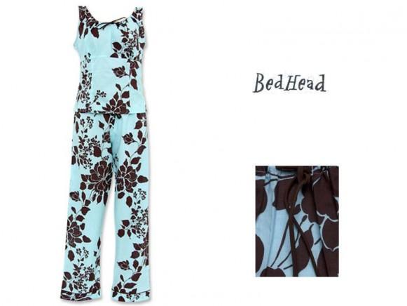 Blue Exotic Floral Voile Corset Top/Lo-Rise Pant Set von BedHead