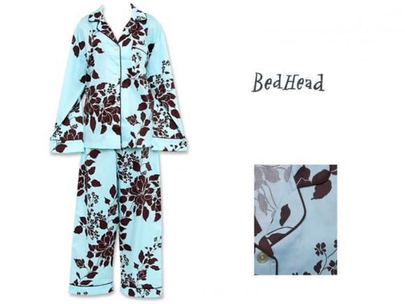 Blue Exotic Floral Sateen Hipster Pajama Set von BedHead