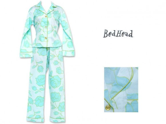 Blue Tulips Sateen Classic Pyjama von BedHead