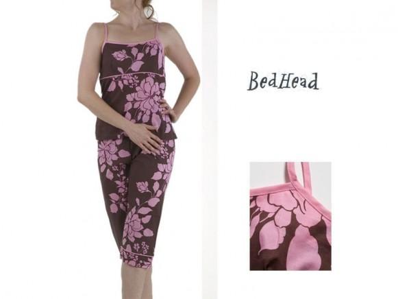 Camisole/Capri Set Chocolate/Pink Exotic Floral Voile von BedHea