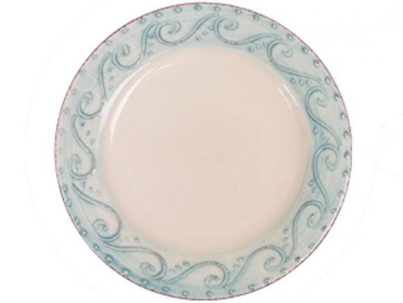 Mintfarbener Teller mit Verzierung im Toskana-Stil von RICE