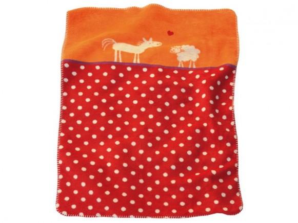 Gepunktete Babydecke mit Pferd und Schaf von Fussenegger
