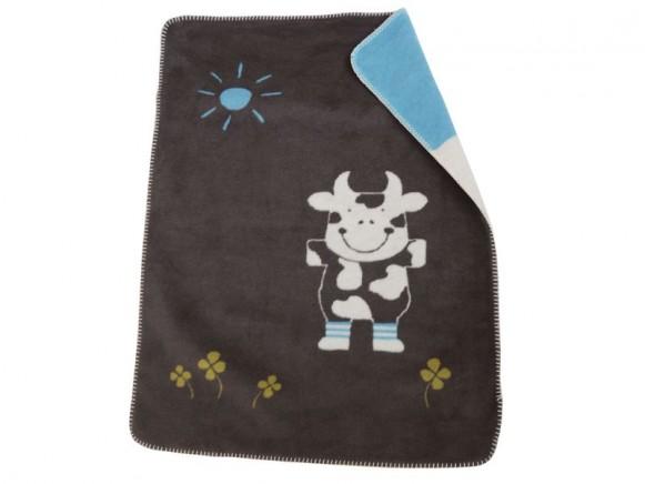 Baby- / Kinderdecke mit Kuh in schokobraun von Fussenegger