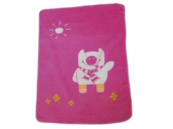 Babydecke / Kinderdecke mit Ferkel in pink von Fussenegger