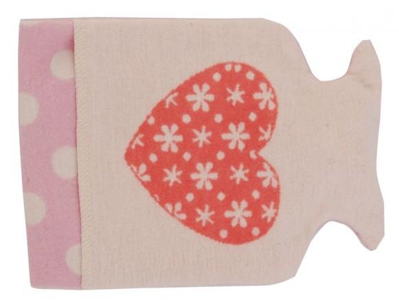 Wärmflasche mit Herz in rosa von David Fussenegger