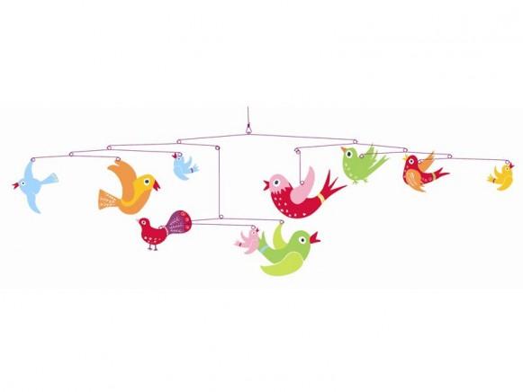 Djeco Mobile mit bunten Vögeln