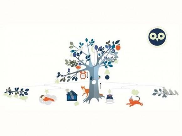 Djeco Mobile mit Waldtieren und Baum