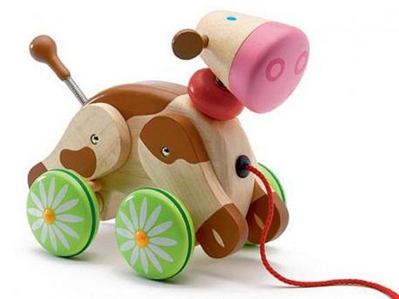 Molly die Kuh als Nachziehtier aus Holz von Djeco