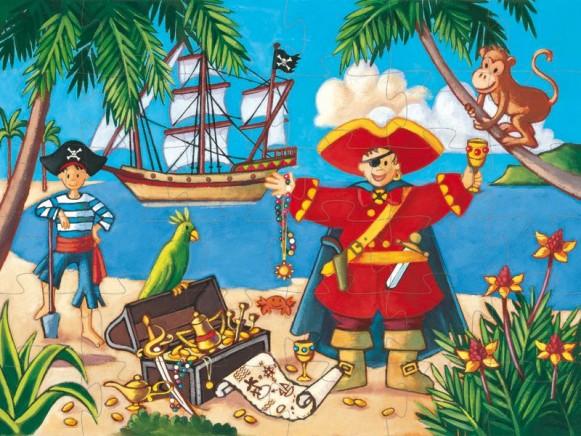 Djeco Puzzle mit Schatzinsel und Pirat