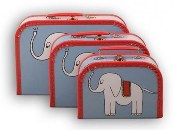Kinderkoffer in blau mit Elefant von TOYS & Company