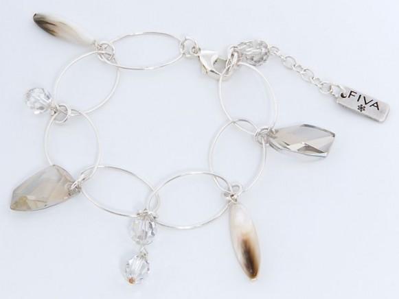 FIVA Armband (Silberkettenglieder, Swarovskikristall)