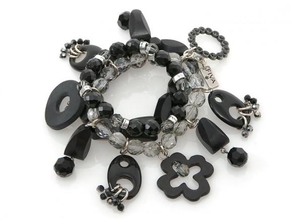 FIVA Armband (Obsidian, Swarovski, Jetperlen)