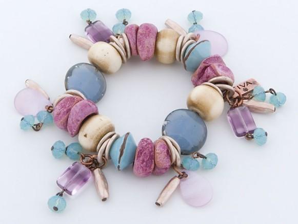 FIVA Armband (Murano, Koralle, Holz, Perlmutt)