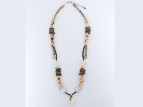FIVA Halskette (Holz, Leder, Bein, Perlmutt)