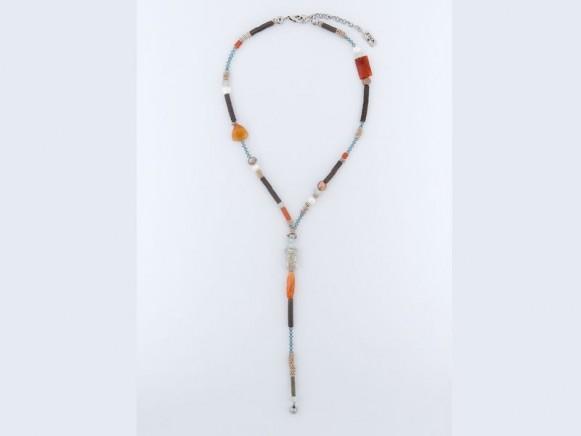 FIVA Halskette (Carneol, Pailletten, Süsswasserperle, Swarovski)