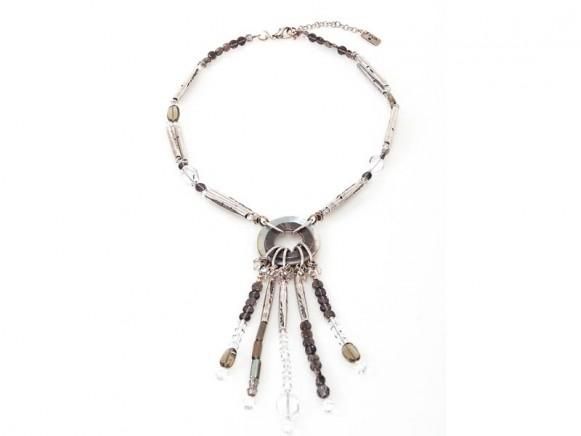 FIVA Halskette (Rauchquarz, Bergkristall, Perlmutt, versilberte