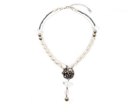 FIVA Halskette (Rauchquarz, Bergkristall, Horn, Silberkette)