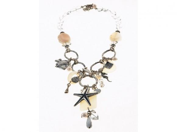 FIVA Halskette (KS, Agat, Perlmutt, versilb.Elemente)