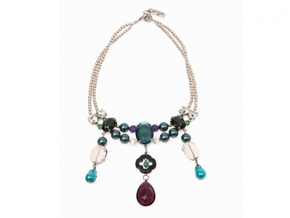 FIVA Halskette (Swarovski, Onyx, versilberte Elemente)