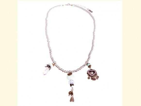 FIVA Halskette (Swarovski, versilberte Elemente, Glasperlen)