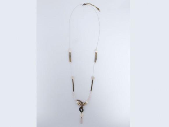 FIVA Halskette (Rosenquarz, Perlmutt, Pailletten, Holz)