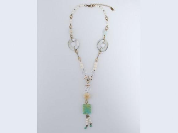 FIVA Halskette (Murano, Süsswasserperle, Bein, Perlmutt)