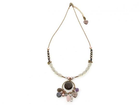 FIVA Halskette (Murano, Rauchquarz, Rosenquarz, Bein)
