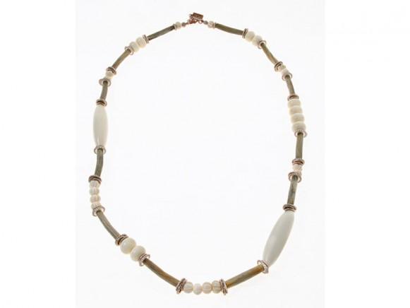 FIVA Halskette (KK, lang, Bein, Holz)