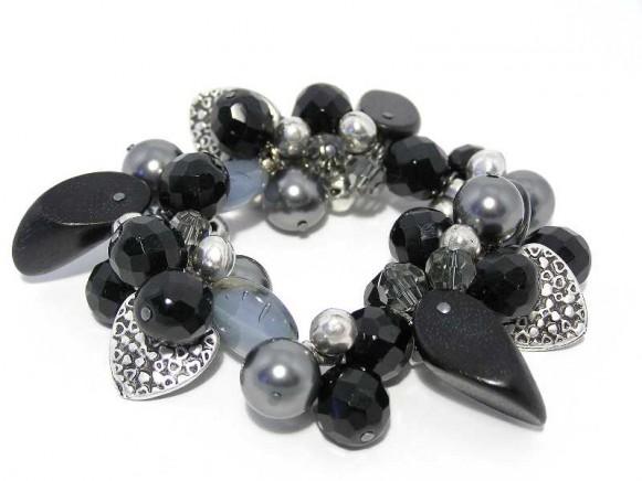 FIVA Armband (schwarz, grau, Silberkügelchen)