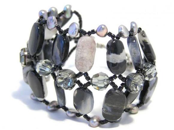 FIVA Armband (fein, schwarz-grau, breit)