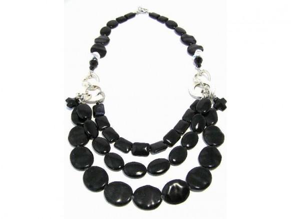 FIVA Halskette (schwarz 3reihig)