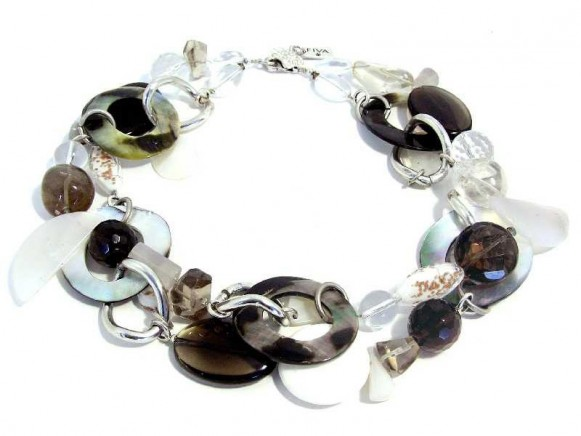 FIVA Halskette (2reihig schwarz, transparent, weiß, Ketten
