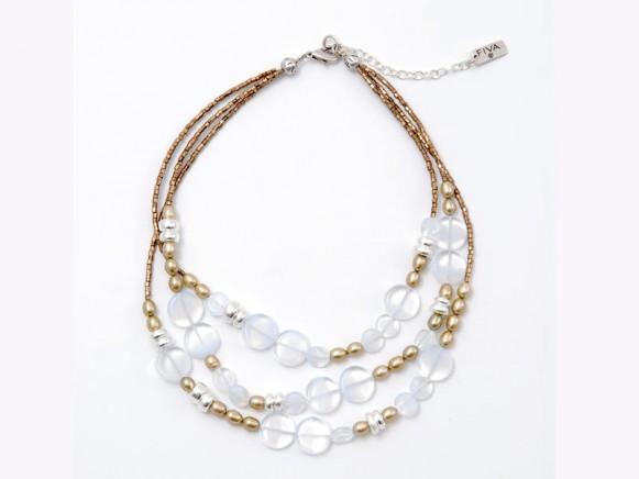 FIVA Halskette (3reihig fein, weiss;, beige, braun)
