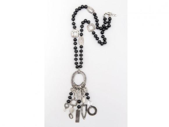 FIVA Halskette (lang, schwarz, Holz, Silberelemente)