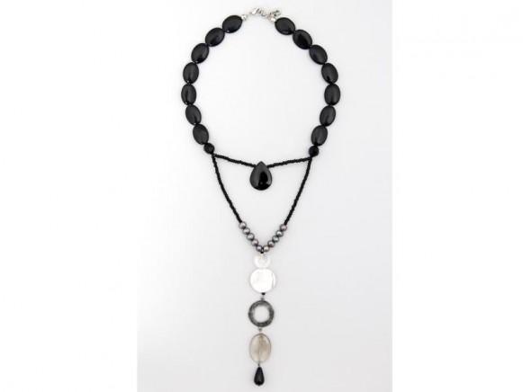 FIVA Halskette (Onyx, Süßwasserperlen, Rauchquarz, weißer Howlit