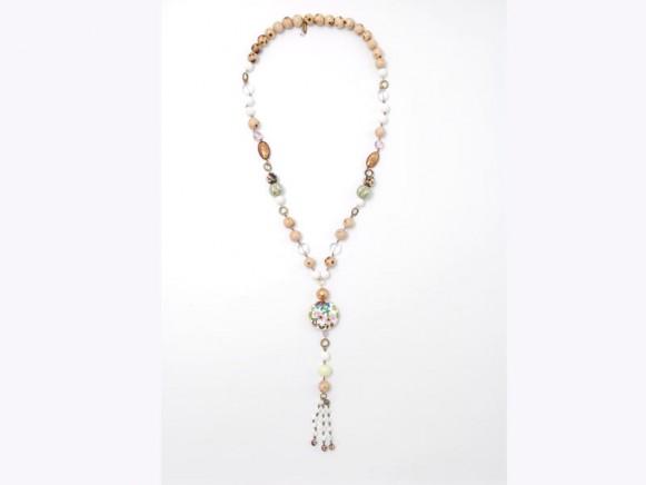 FIVA Halskette (lang, Emailleanhänger, Holzkugeln, pastell)