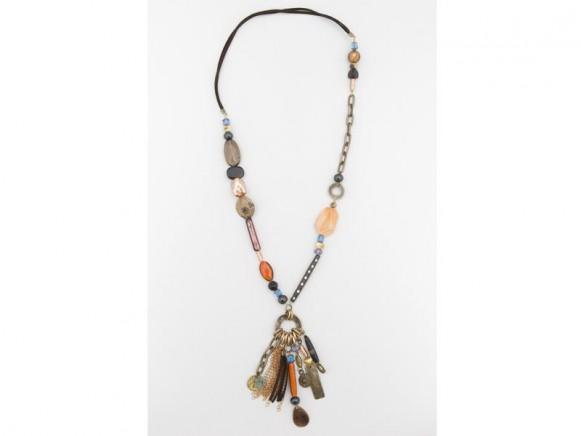 FIVA Halskette (Rauchquarz, Murano, Jasper, Horn)