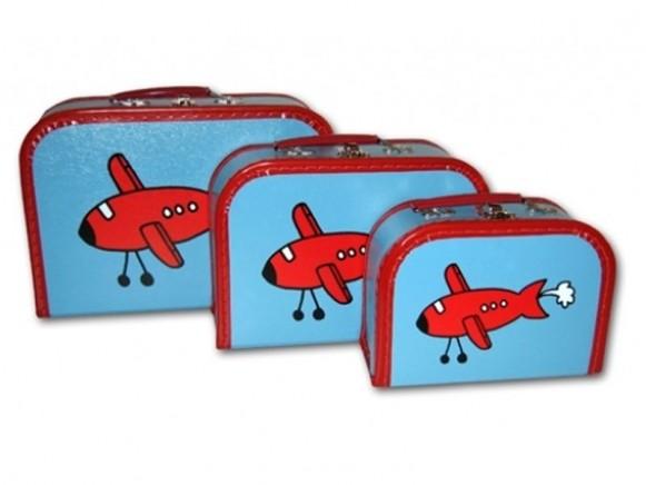 Kinderkoffer in blau mit Flugzeug von TOYS & Company