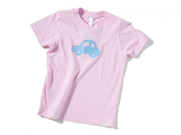 Kinder-Shirt Auto von Fritzi Shirt (rosa mit hellblauem Auto)