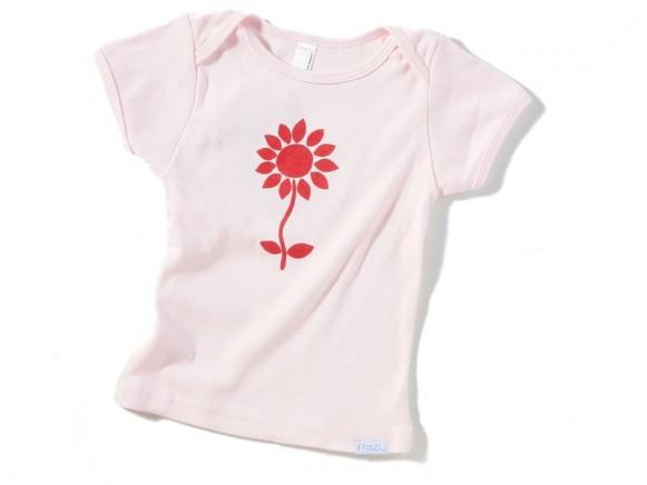 Hellrosa Klein-/Kinder-Shirt mit roter Blume von Fritzi Shirt