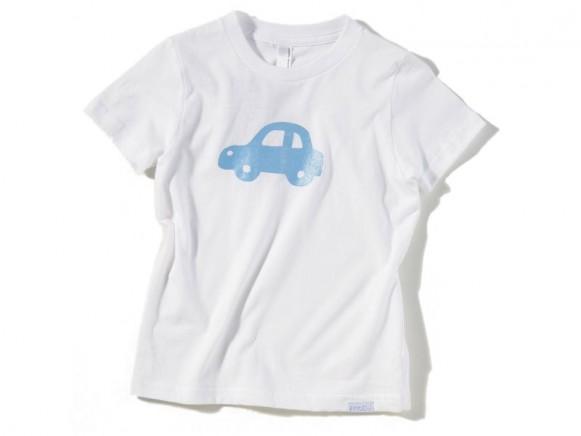 Weißes Kinder-Shirt mit hellblauem Auto von Fritzi Shirt