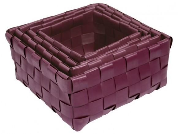 Dekokorb in aubergine im 4er-Set von Handed By