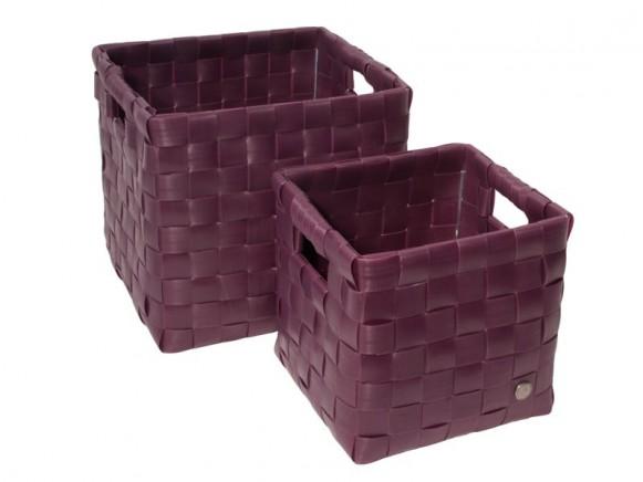 Set quadratischer Körbe mit Griffen in aubergine von Handed By