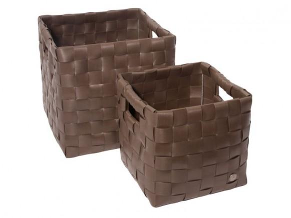 Set quadratischer Körbe in dunkelbraun von Handed By