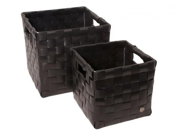 Set quadratischer Körbe mit Griffen in schwarz von Handed By