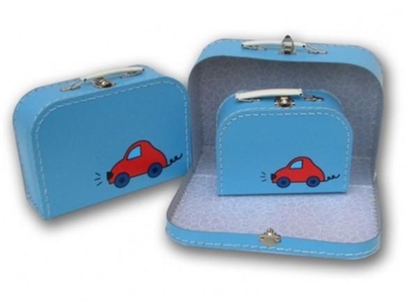 Kinderkoffer in blau mit Auto von TOYS & Company