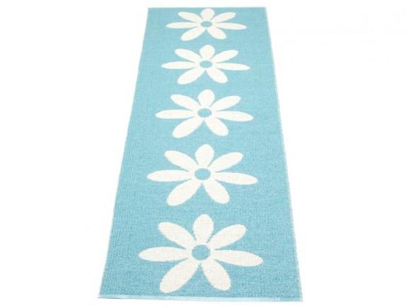 Pappelina Teppich Lilo in azur mit weissen Blumen